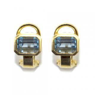 Bespoke 18k Yellow Gold Aquamarine Earrings