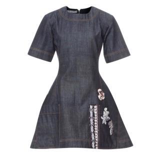 Dior denim embroidered mini dress