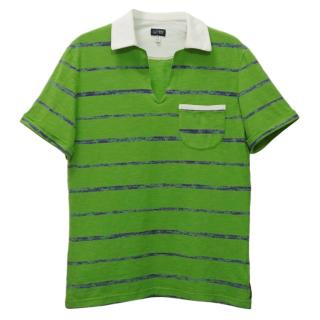 Armani Jeans Green Striped Polo Shirt