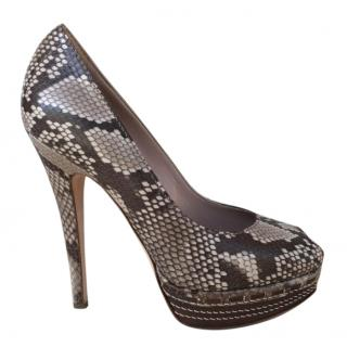 Sebastian Python Embossed Peep-Toe Pumps