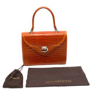 7299ee2d8b58 Kwanpen Orange Crocodile Leather 5568 Signature Handbag. Never Worn Item
