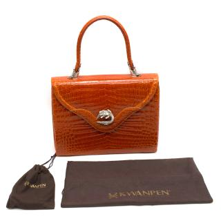 Kwanpen Orange Crocodile Leather 5568 Signature Handbag