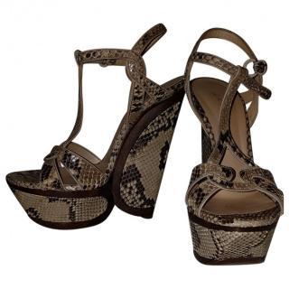 Casadei Python Wedge Sandals