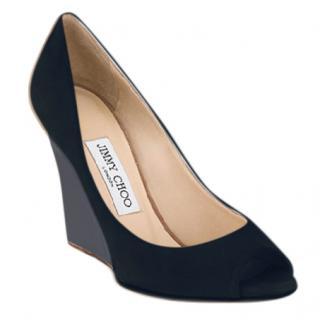 Jimmy Choo black peep-toe wedge pumps