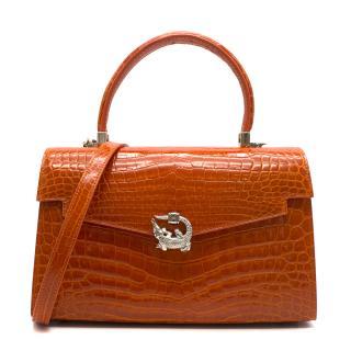 Kwanpen Orange Croc Leather 3572 Signature Mini Handbag