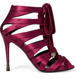 Tom Ford Lace-Up Satin And Velvet Sandals