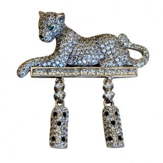 Bespoke Silver Crystal Embellished Panther Pendant
