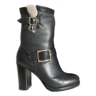 Jimmy Choo Leather & Shearling Boots