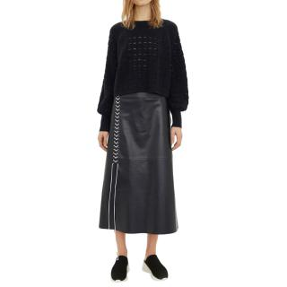 By Malene Birger Night Sky Leather Lace-Up Midi Skirt - New Season
