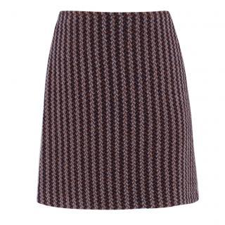 Hermes Paris Herringbone-Tweed Wool Skirt