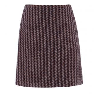 Hermes Paris Herringbone-Tweed Wool Skirt