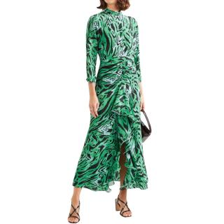 Rixo lucy ruffled animal-print silk maxi dress