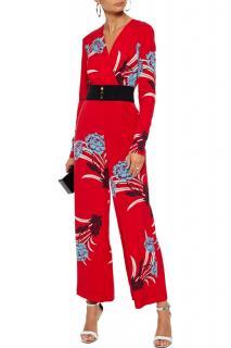 Diane Von Furstenberg Red Floral Print Crepe Jumpsuit