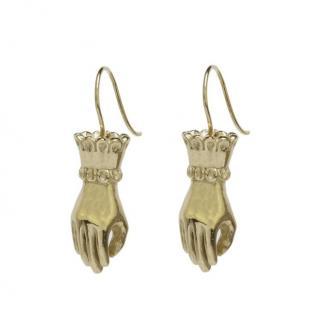 Pearl & Queenie Gold Fortune Tellers Hand Earrings