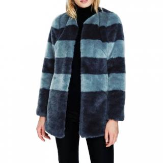 Boden Striped Faux Fur Jacket