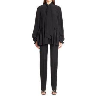 Givenchy Tie-Neck Black Silk Blouse