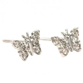 Bespoke Diamond-Encrusted White-Gold Butterfly Earrings