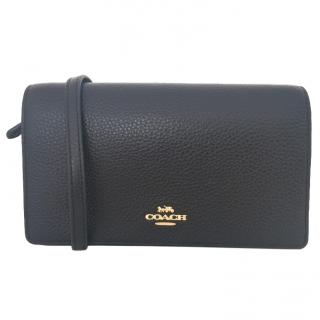 Coach Black Grained-Leather Cross-Body Bag