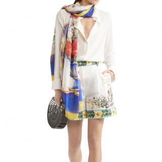 Dolce & Gabbana White Sicily Print Shorts