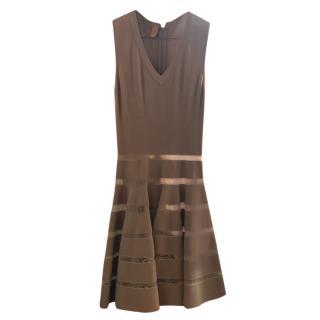 Alaia Ladder-Stitch Nude A-line Dress