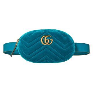 Gucci Marmont Teal Velvet Belt bag