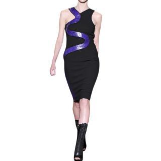 Versace Snakeskin-Panel Black Wool Dress