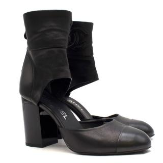Chanel Black Leather Ankle Wrap Sandal Boots