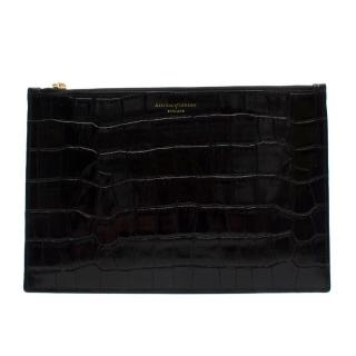 Aspinal of London Black Croc Embossed Large Essential Flat Pouch