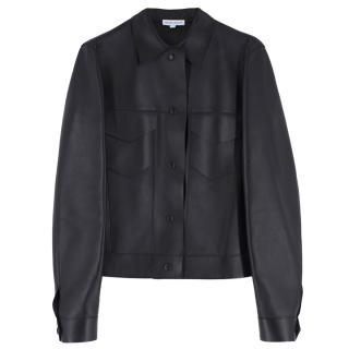 Trager Delaney Black Nappa Leather Trucker Jacket
