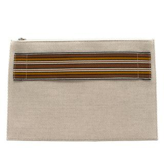 Loro Piana Beige Suitcase Stripe Pouch - New Season