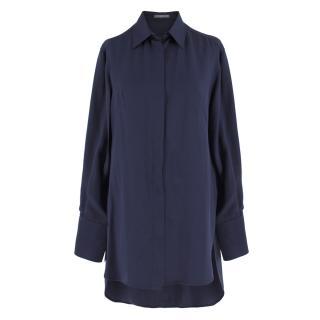 Alexander Mcqueen Navy Silk Longline Shirt