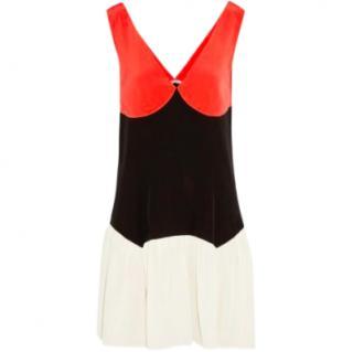 Miu Miu Colour-Block Sleeveless Silk Dress
