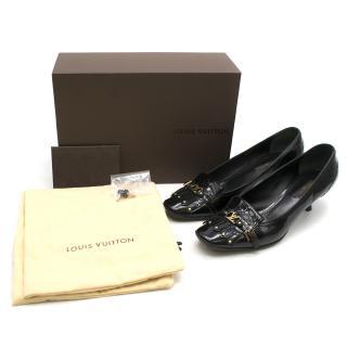 Louis Vuitton Black Patent Leather Square-toe Pumps