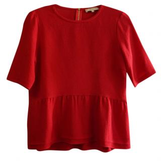 Sandro Red Ruffle Hem Top