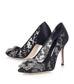 Manolo Blahnik Hangisi Black Lace Pumps