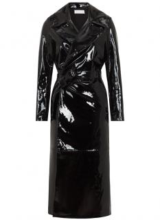 Skiim Karla Black Patent Leather Trench Coat - New Season