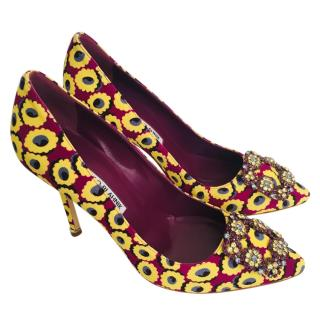 Manolo Blahnik flora print lining hangisi pumps - current season