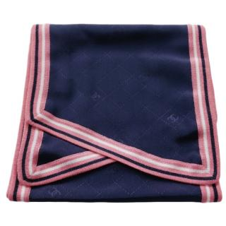 Chanel VIP gift navy quilt weave scarf