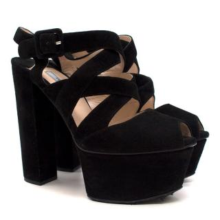 Prada Black Suede Platform Sandals