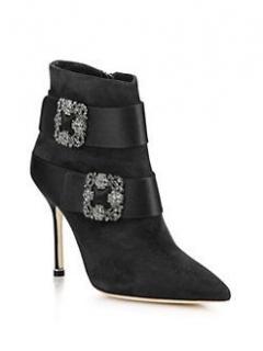 Manolo Blahnik Embellished Black Suede Ankle Boots