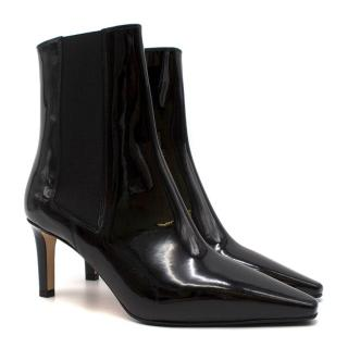 Aeyde Leila Black Patent Leather Ankle Boots - Current Season