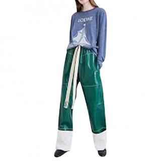 Loewe Straight-Leg Green Leather Trousers