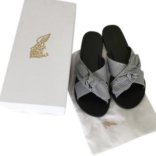 Ancient Greek Thais Bow Gingham Slides