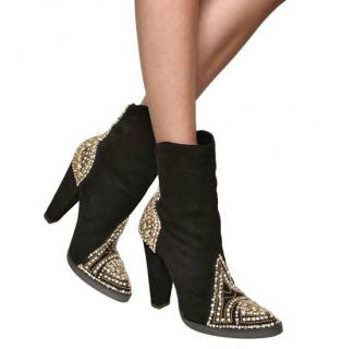 Balmain Crystal-Embellished Suede Boots