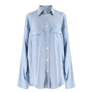 Alessandra Rich Blue and White Striped Silk Shirt