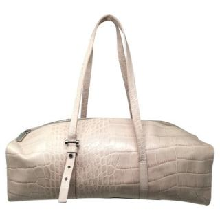 Furla Pale Pink Croc Embossed Shoulder Bag