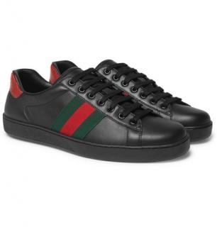 1885c9628c5 Gucci Ace Snake-Trimmed Leather Sneakers