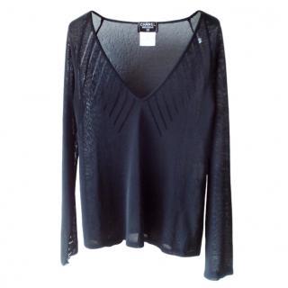 Chanel Navy Sheer Knit Top