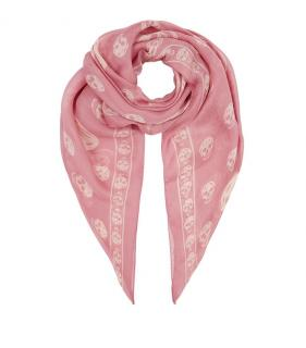 Alexander McQueen Pink Skull Silk Scarf
