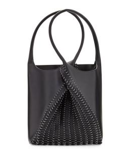 Paco Rabanne 1401 Pliage Chain-Link Black Leather Tote